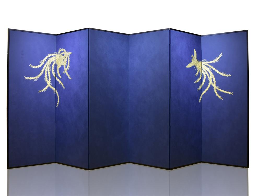 6曲 紺鳥の子紙 本金金彩 鳳凰 H176cm×W57.5cm