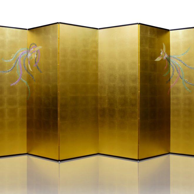 6曲 真鍮箔 金彩 五色鳳凰