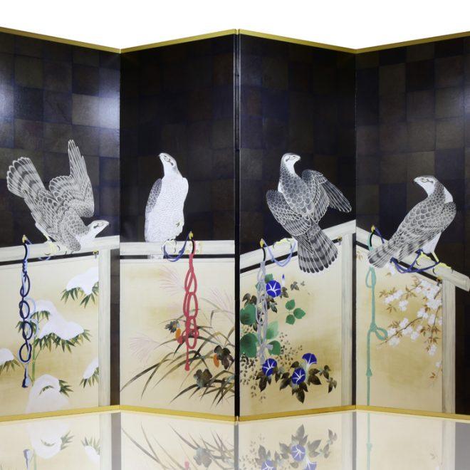 4曲 手描き 鷹図